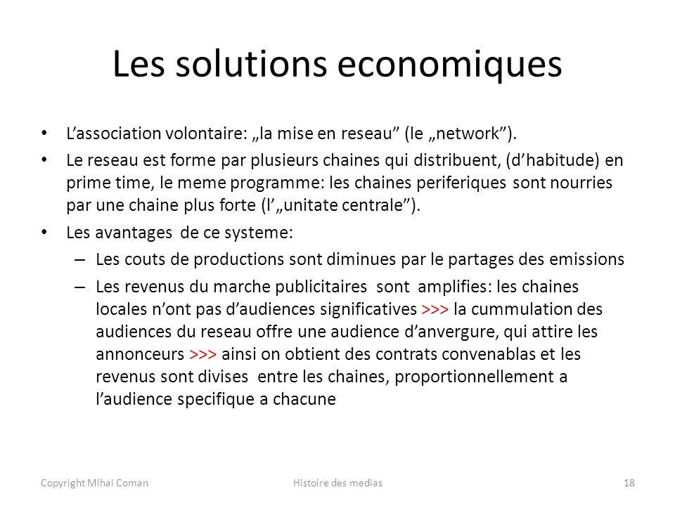 Les solutions economiques