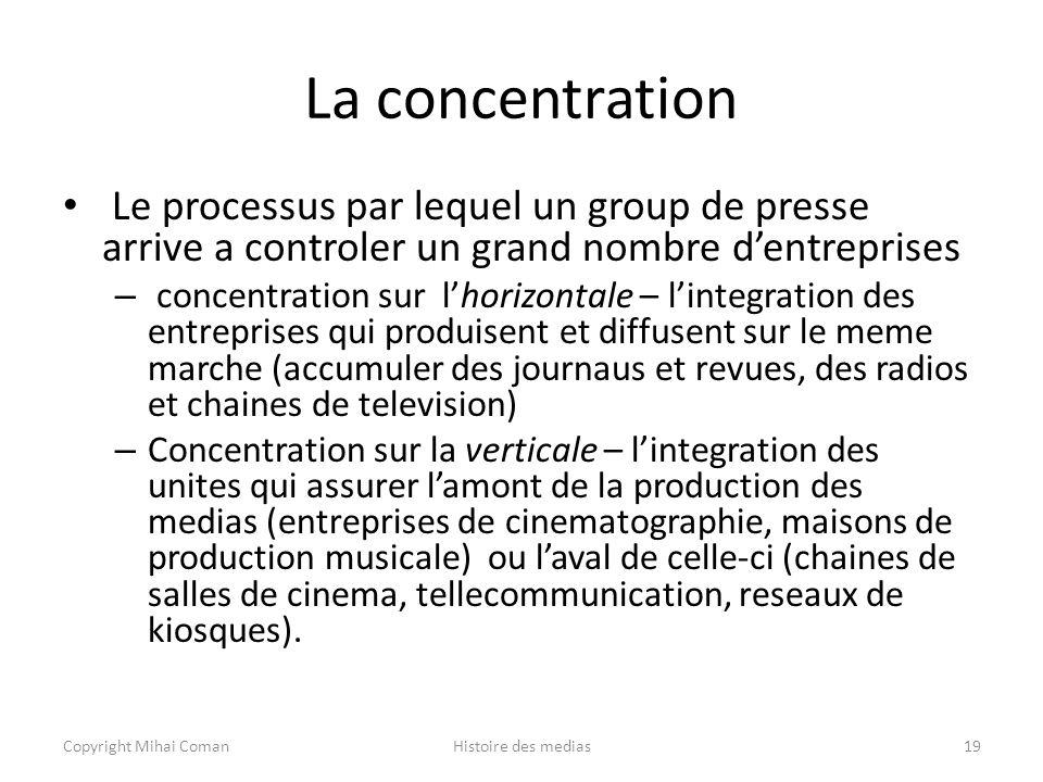 La concentration Le processus par lequel un group de presse arrive a controler un grand nombre d'entreprises.