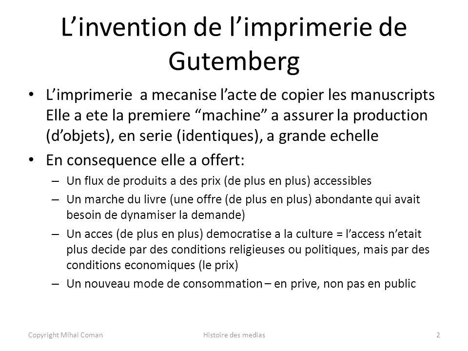 L'invention de l'imprimerie de Gutemberg