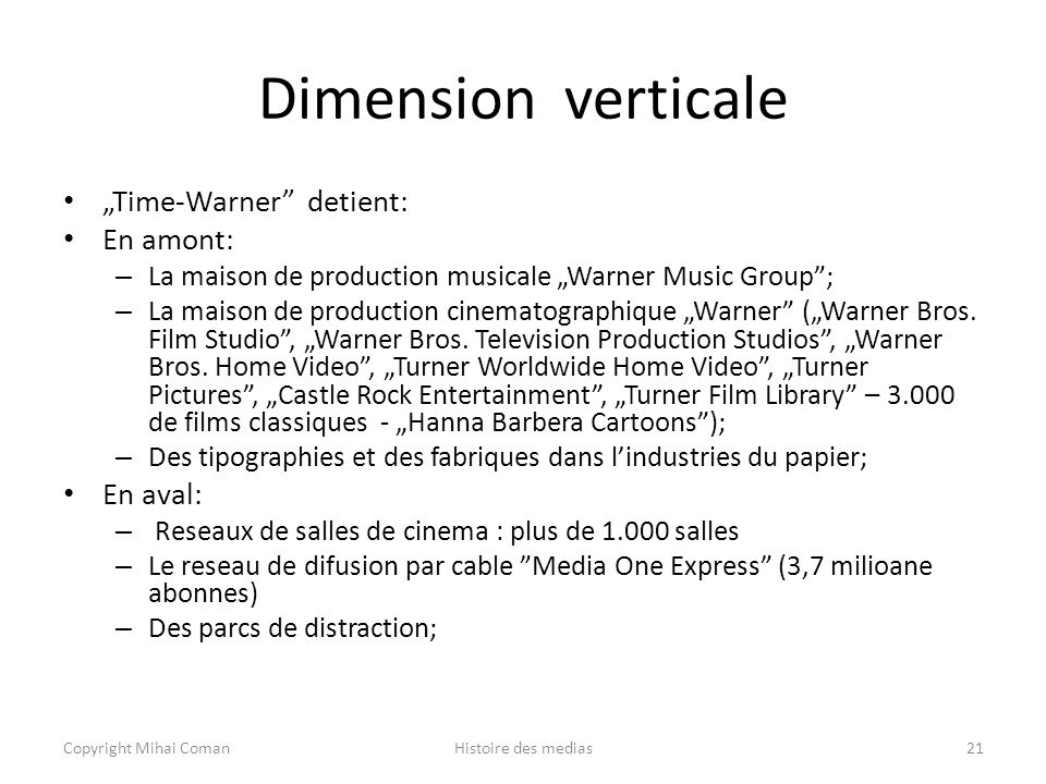 "Dimension verticale ""Time‑Warner detient: En amont: En aval:"