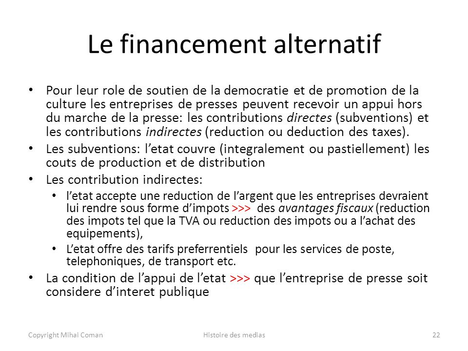 Le financement alternatif