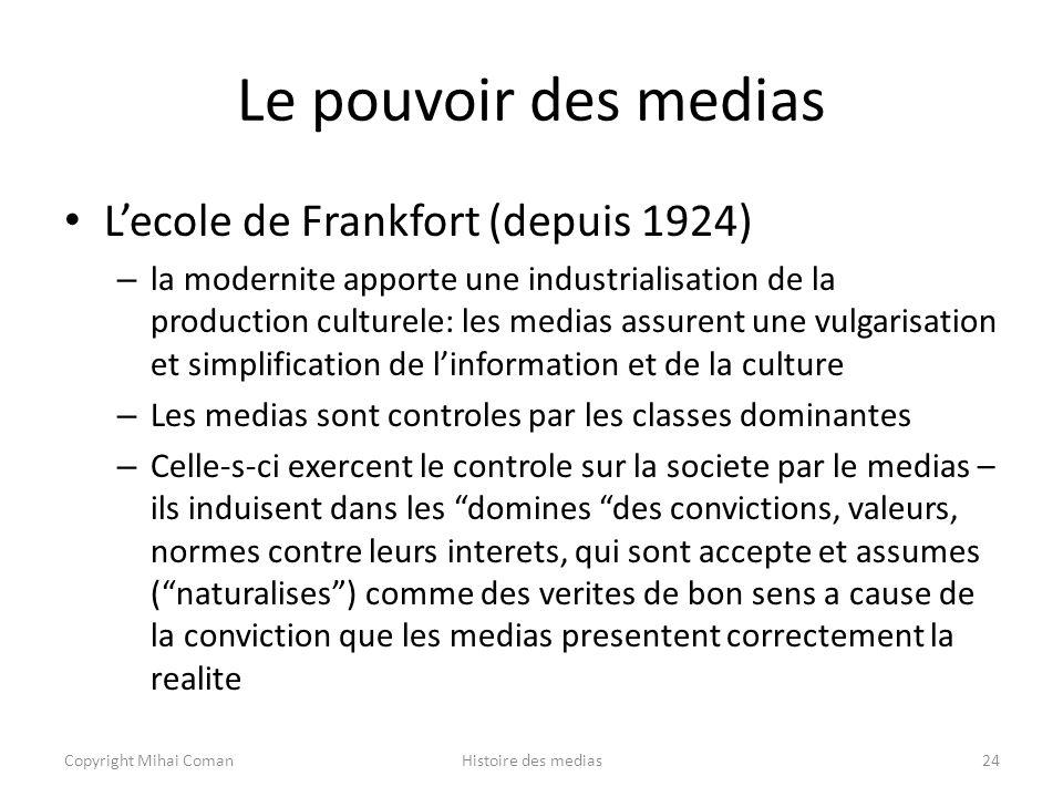 Le pouvoir des medias L'ecole de Frankfort (depuis 1924)