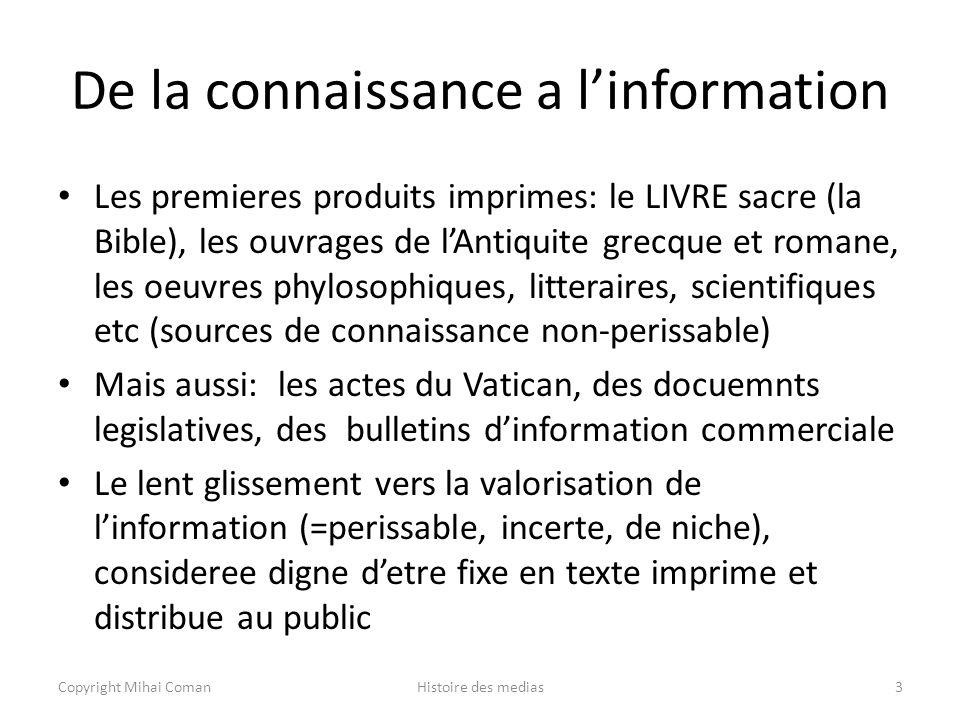 De la connaissance a l'information