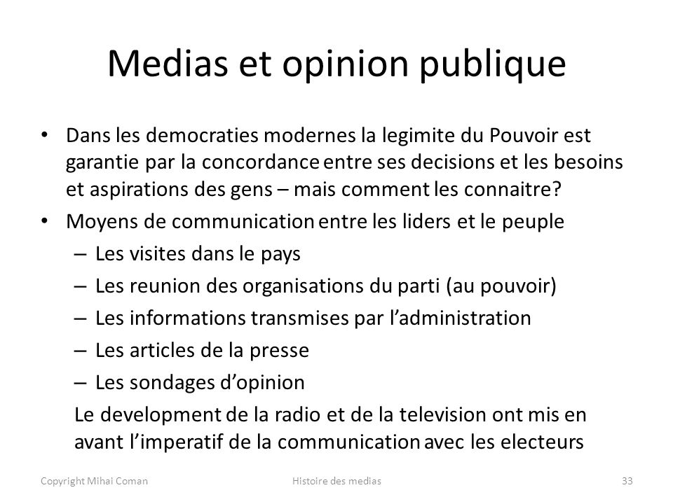 Medias et opinion publique