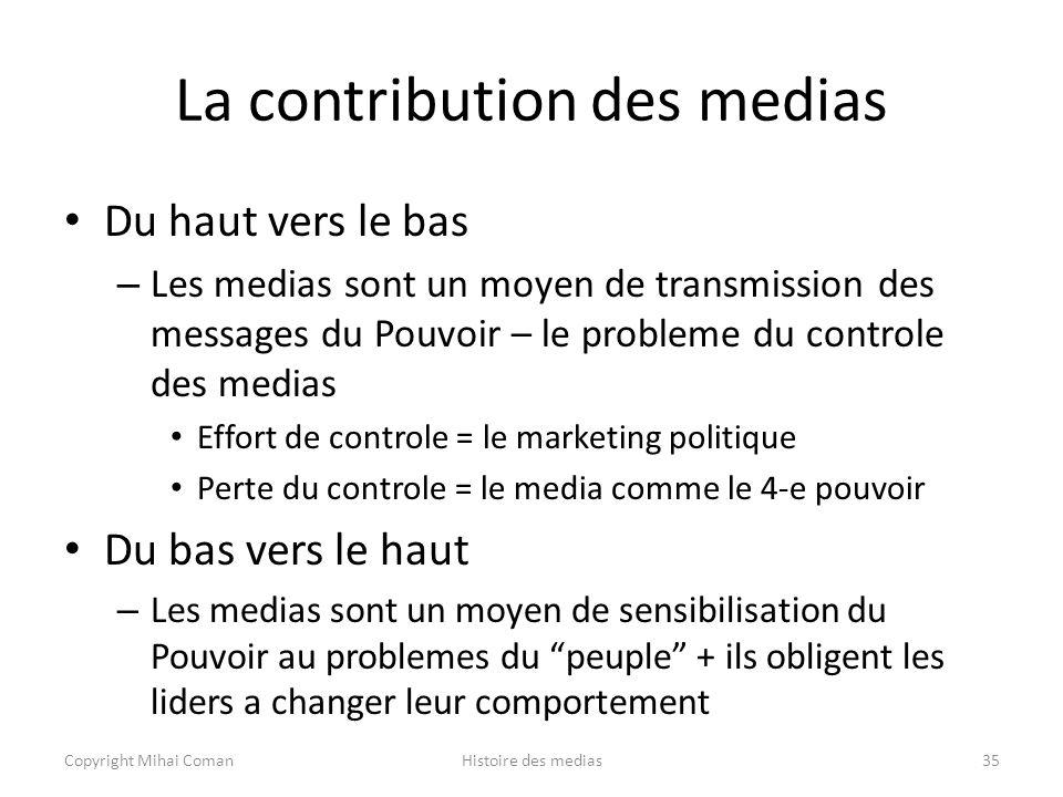 La contribution des medias