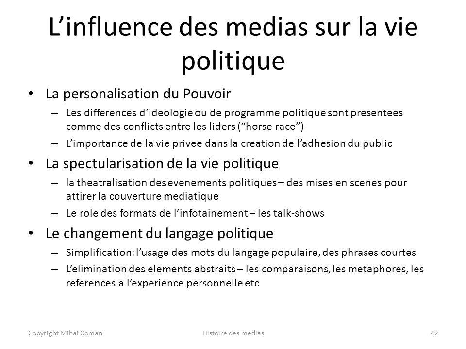 L'influence des medias sur la vie politique