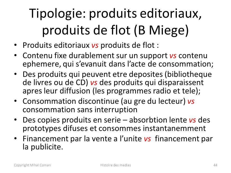 Tipologie: produits editoriaux, produits de flot (B Miege)