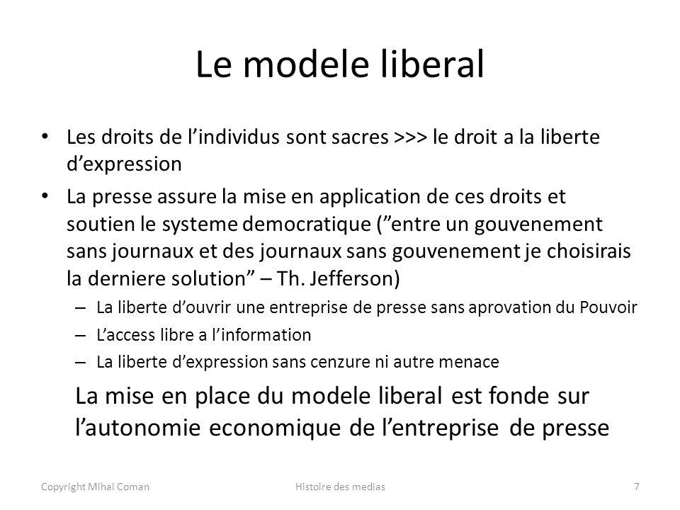 Le modele liberal Les droits de l'individus sont sacres >>> le droit a la liberte d'expression.