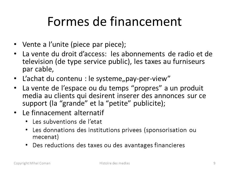 Formes de financement Vente a l'unite (piece par piece);