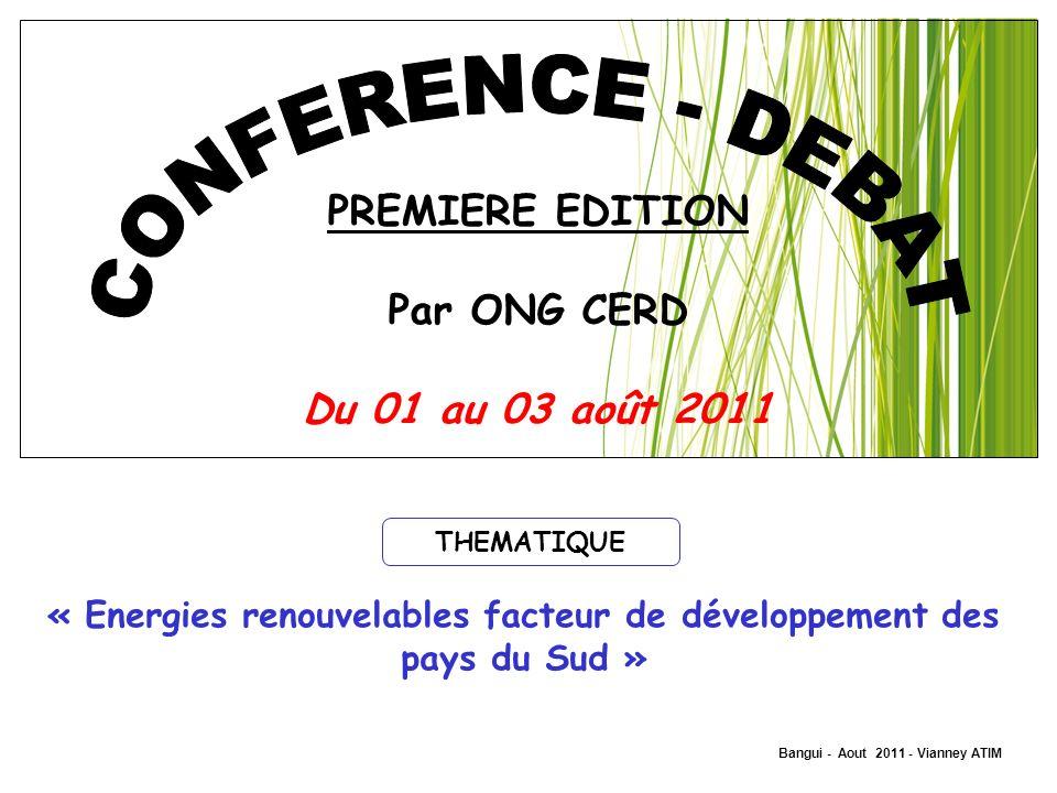 PREMIERE EDITION Par ONG CERD Du 01 au 03 août 2011