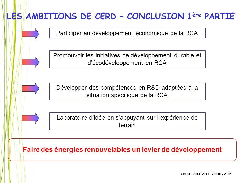 Faire des énergies renouvelables un levier de développement