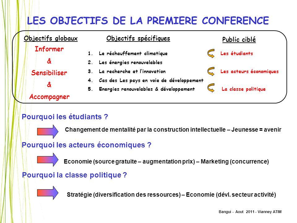 LES OBJECTIFS DE LA PREMIERE CONFERENCE