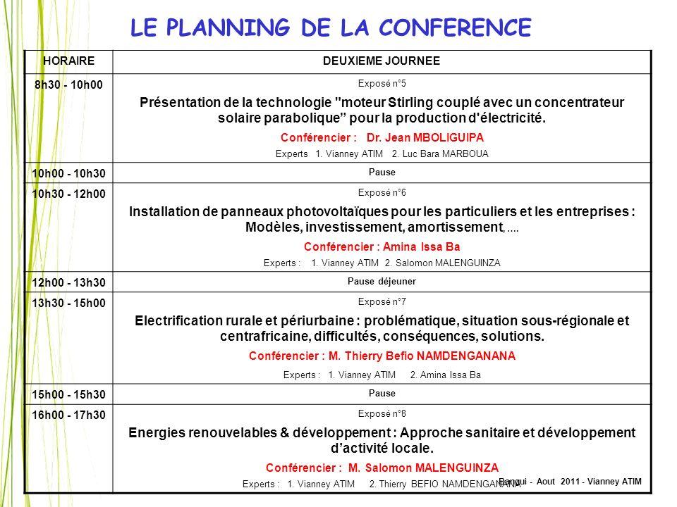 LE PLANNING DE LA CONFERENCE