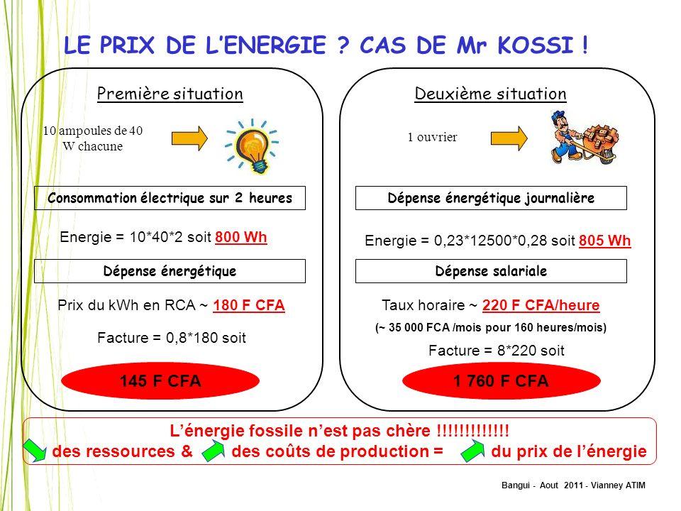 LE PRIX DE L'ENERGIE CAS DE Mr KOSSI !