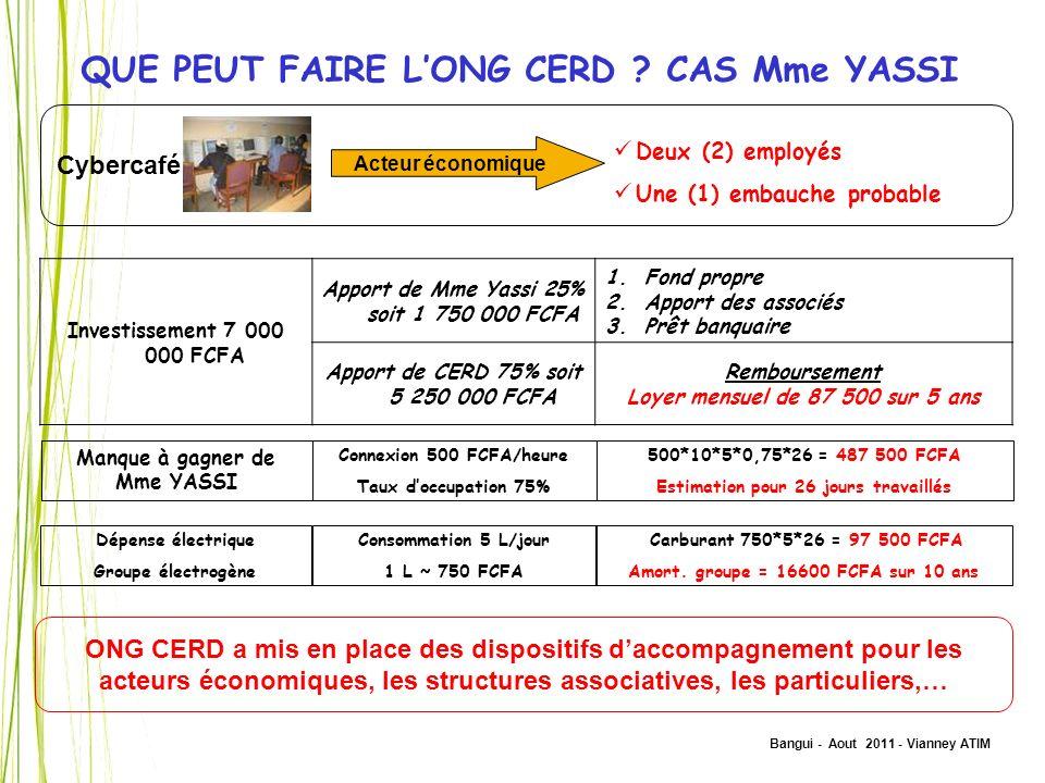 QUE PEUT FAIRE L'ONG CERD CAS Mme YASSI
