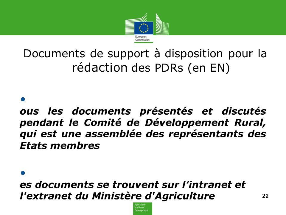 Documents de support à disposition pour la rédaction des PDRs (en EN)