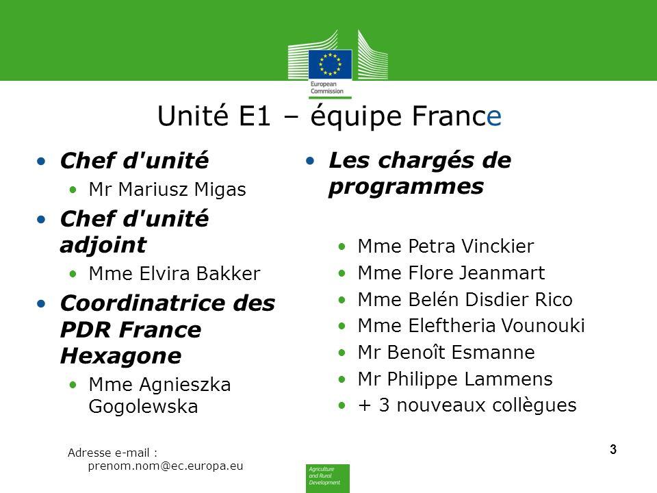 Unité E1 – équipe France Chef d unité Les chargés de programmes