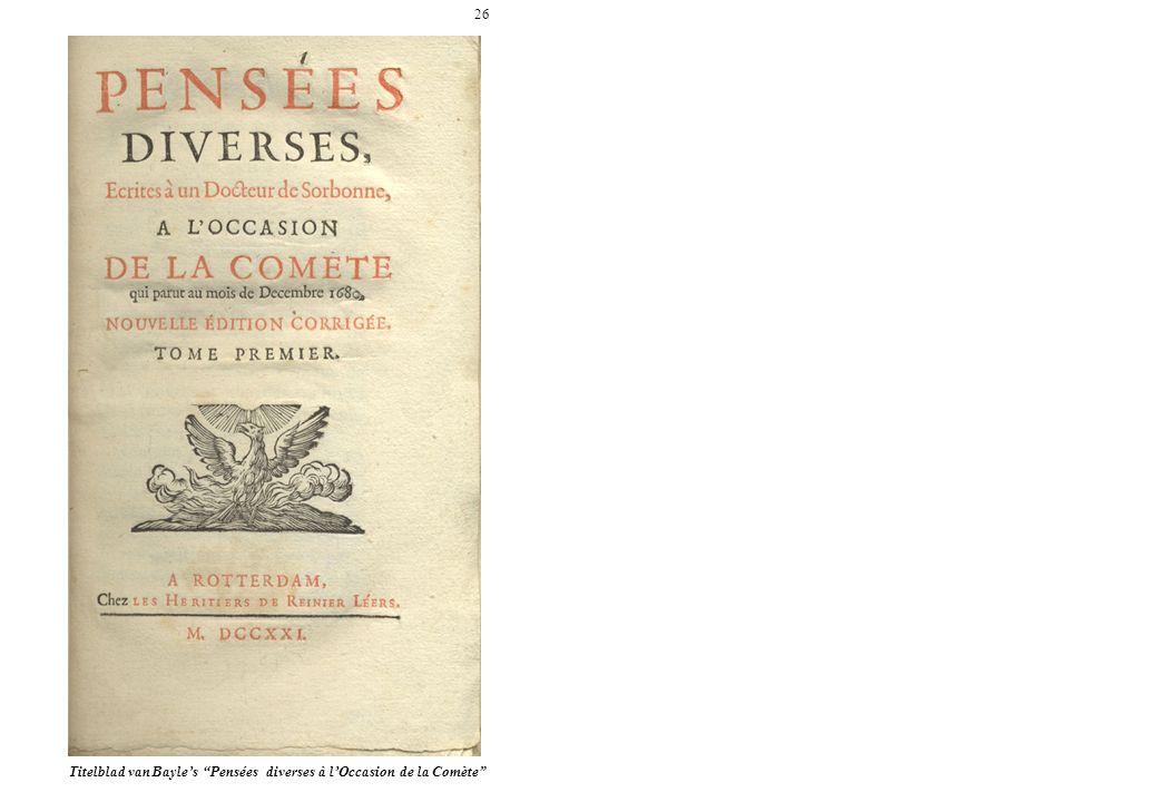 26 Titelblad van Bayle's Pensées diverses à l'Occasion de la Comète