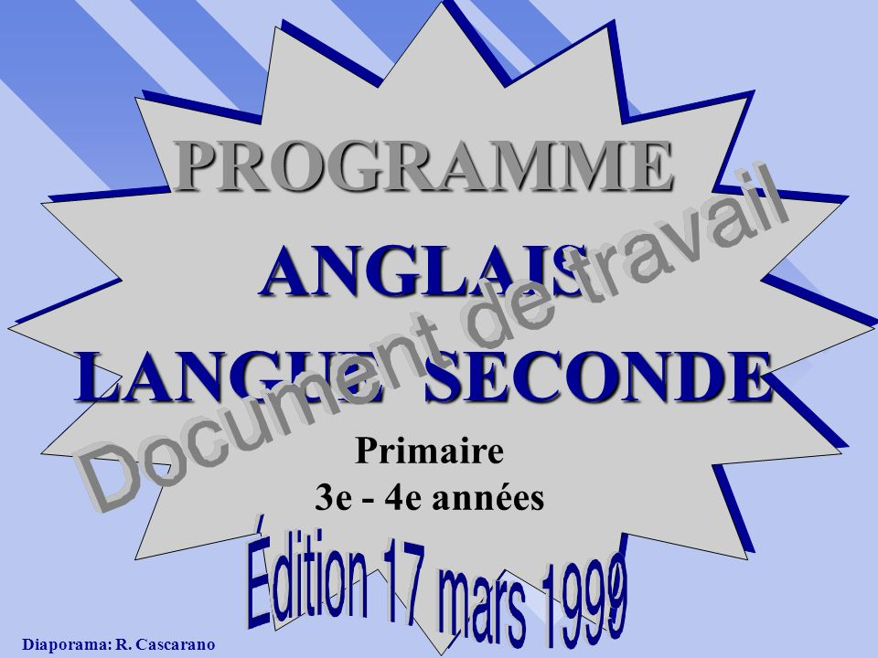 PROGRAMME ANGLAIS LANGUE SECONDE