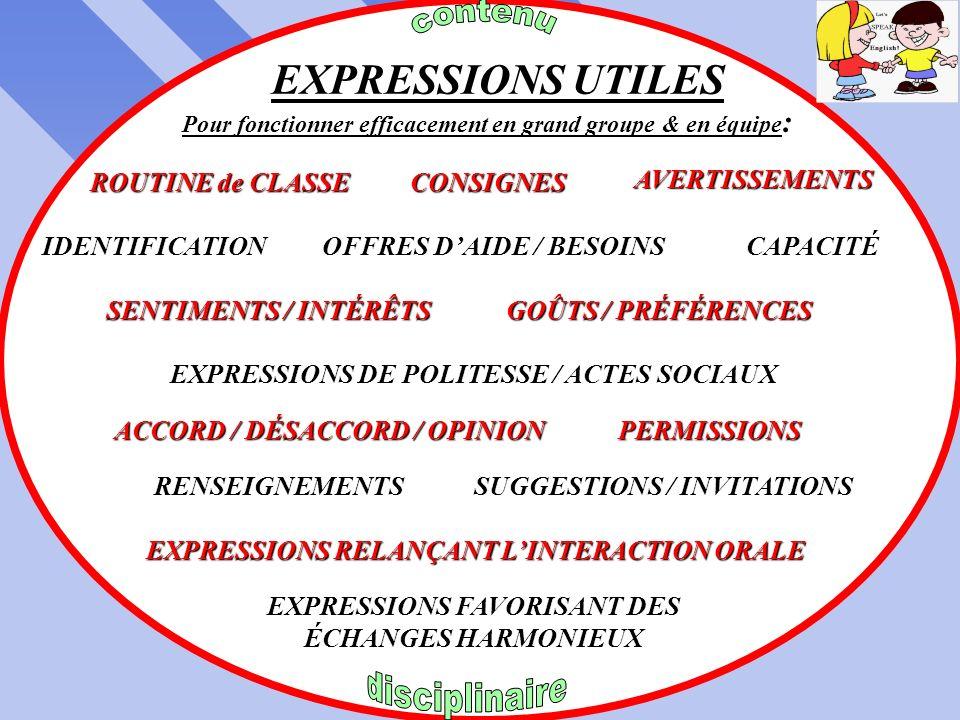 EXPRESSIONS UTILES contenu ROUTINE de CLASSE CONSIGNES AVERTISSEMENTS
