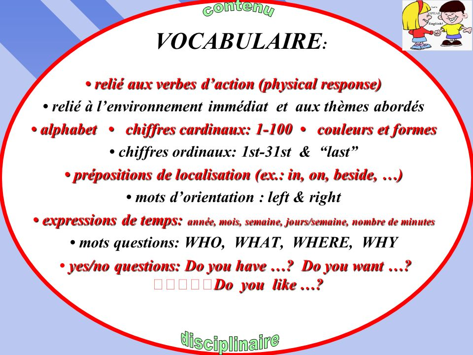 VOCABULAIRE: • relié aux verbes d'action (physical response)