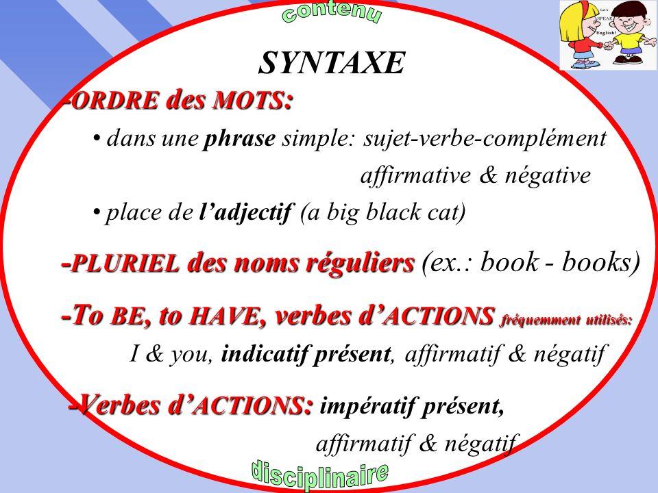 SYNTAXE -ORDRE des MOTS: