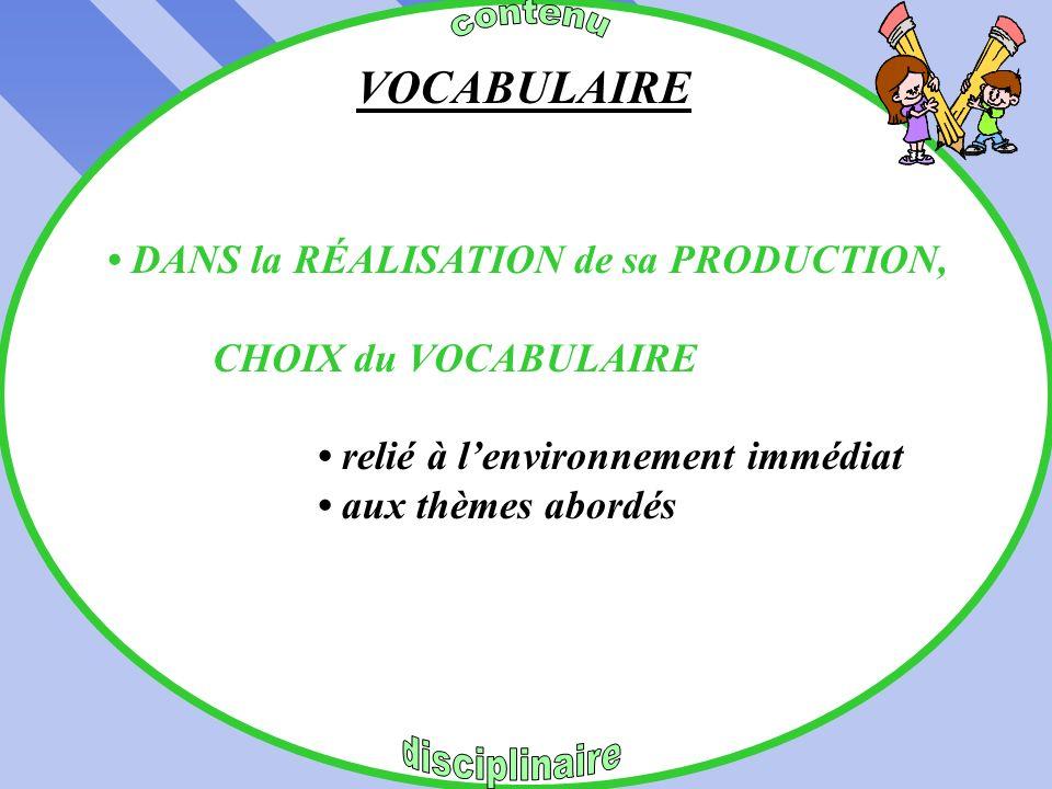VOCABULAIRE • DANS la RÉALISATION de sa PRODUCTION,