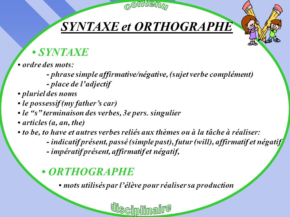 SYNTAXE et ORTHOGRAPHE