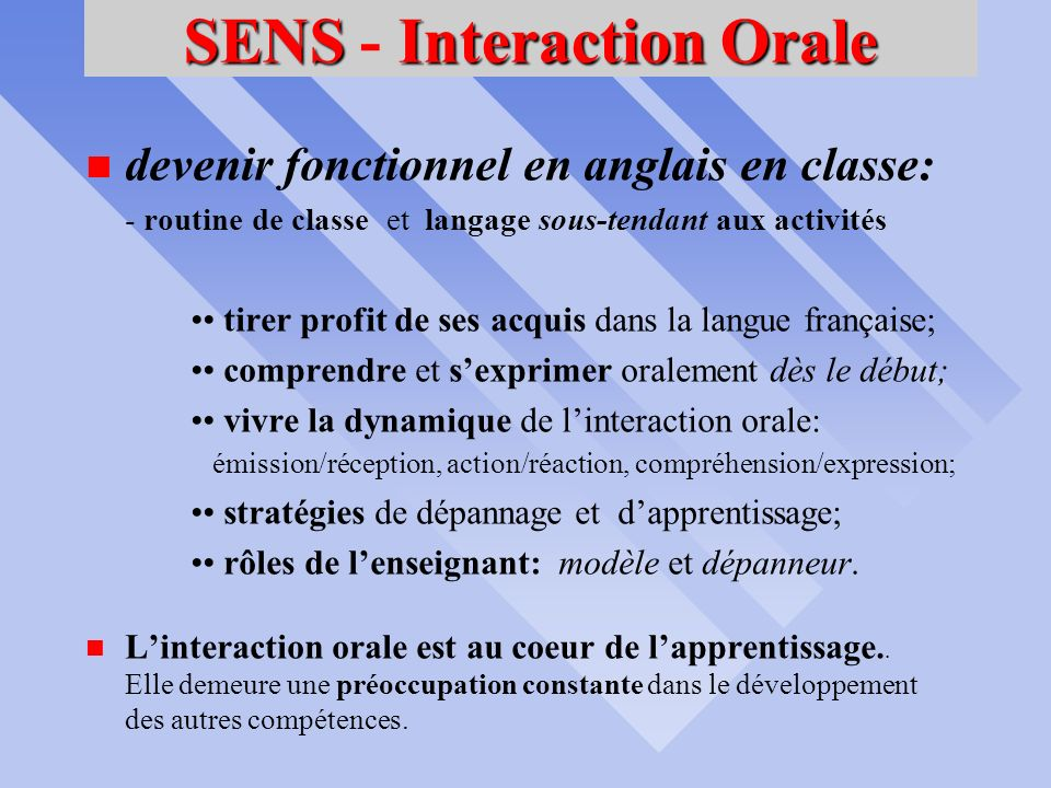 SENS - Interaction Orale