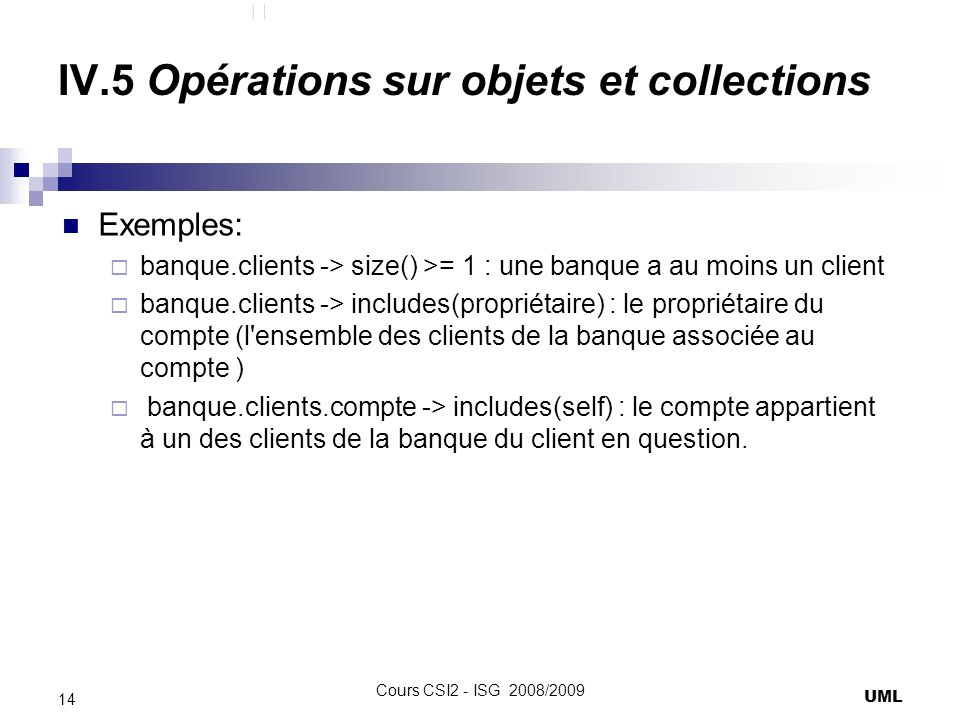 IV.5 Opérations sur objets et collections