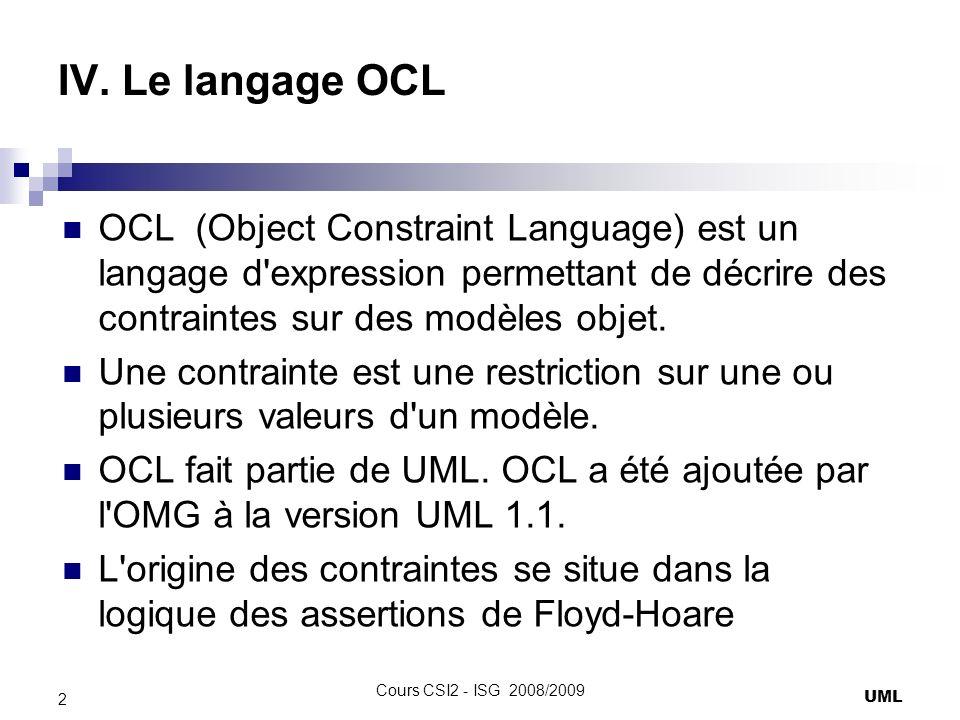IV. Le langage OCL OCL (Object Constraint Language) est un langage d expression permettant de décrire des contraintes sur des modèles objet.
