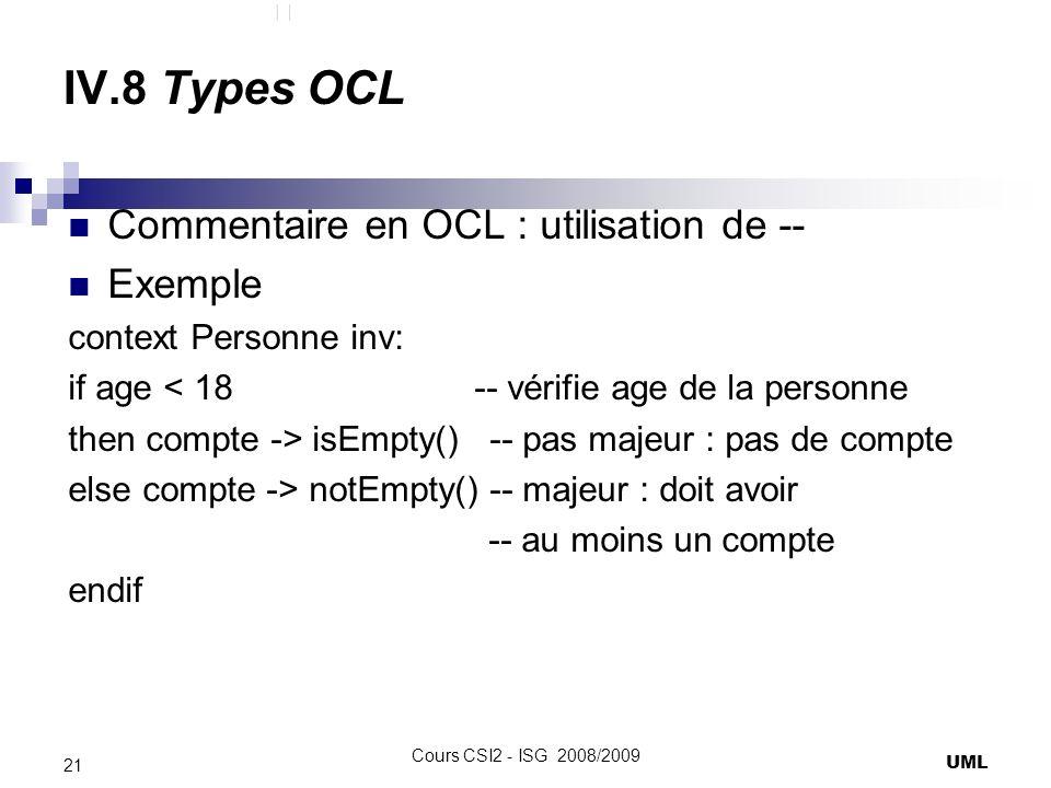 IV.8 Types OCL Commentaire en OCL : utilisation de -- Exemple