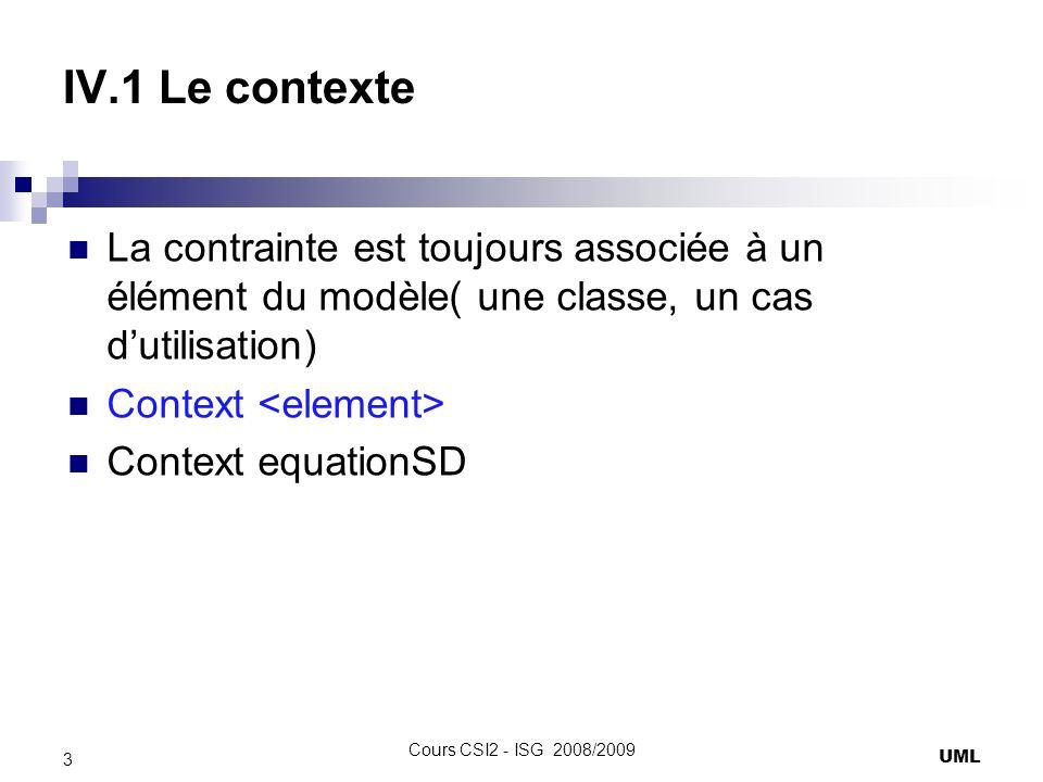IV.1 Le contexte La contrainte est toujours associée à un élément du modèle( une classe, un cas d'utilisation)