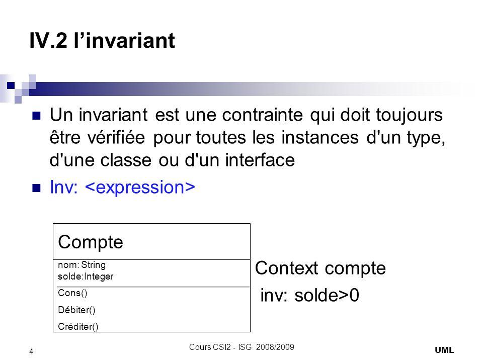 IV.2 l'invariant Un invariant est une contrainte qui doit toujours être vérifiée pour toutes les instances d un type, d une classe ou d un interface.