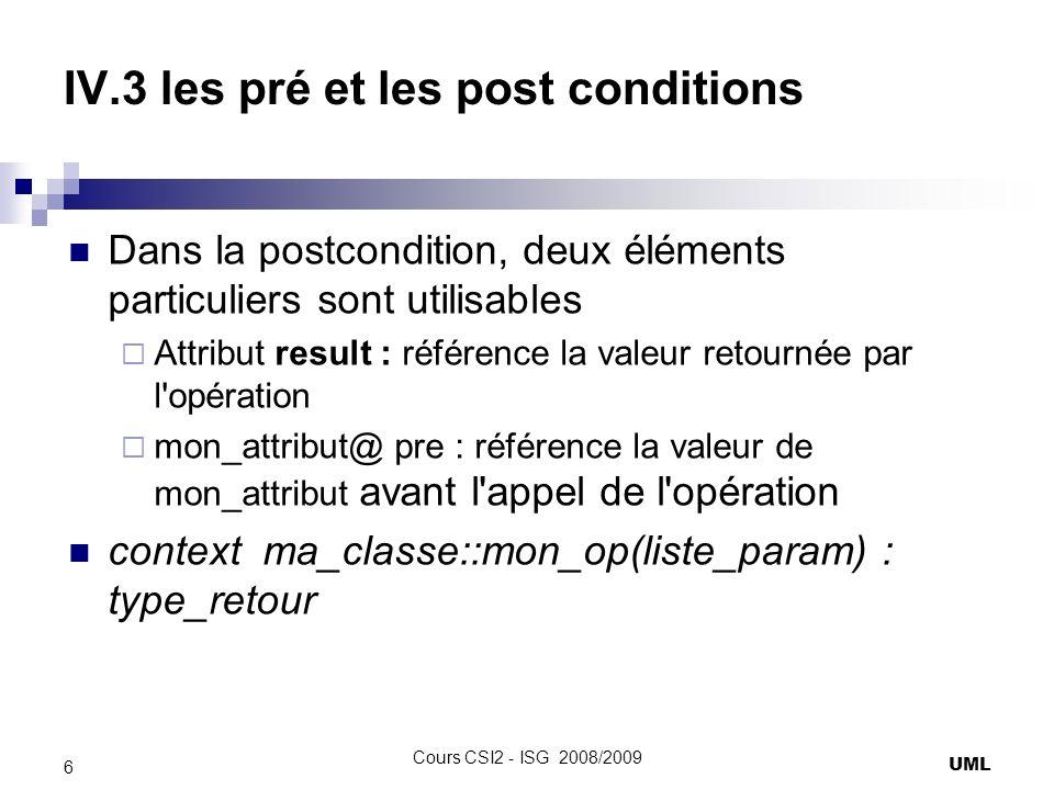 IV.3 les pré et les post conditions