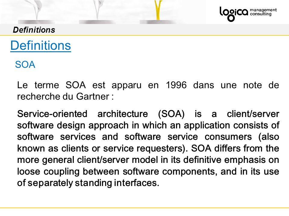 Definitions Definitions. SOA. Le terme SOA est apparu en 1996 dans une note de recherche du Gartner :