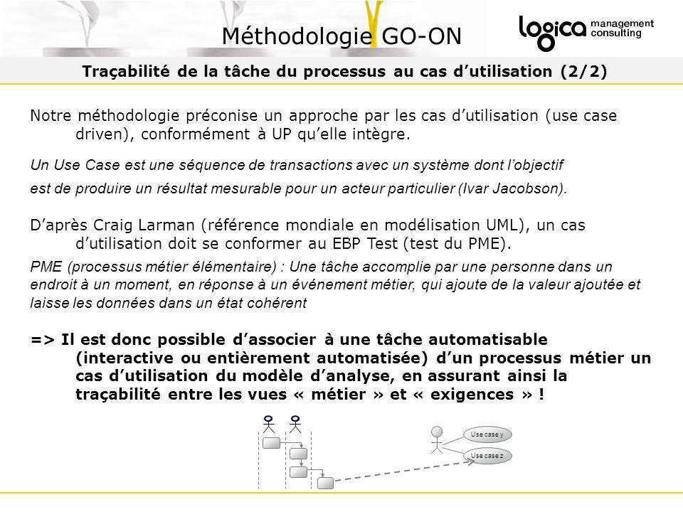 Traçabilité de la tâche du processus au cas d'utilisation (2/2)