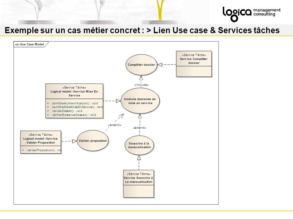 Exemple sur un cas métier concret : > Lien Use case & Services tâches