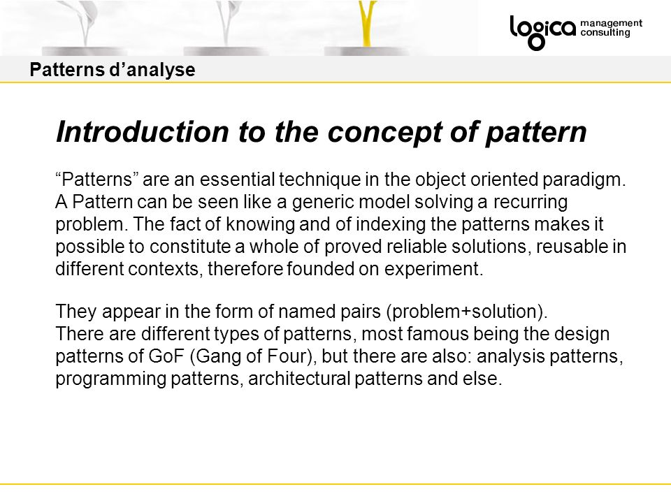 Introduction to the concept of pattern