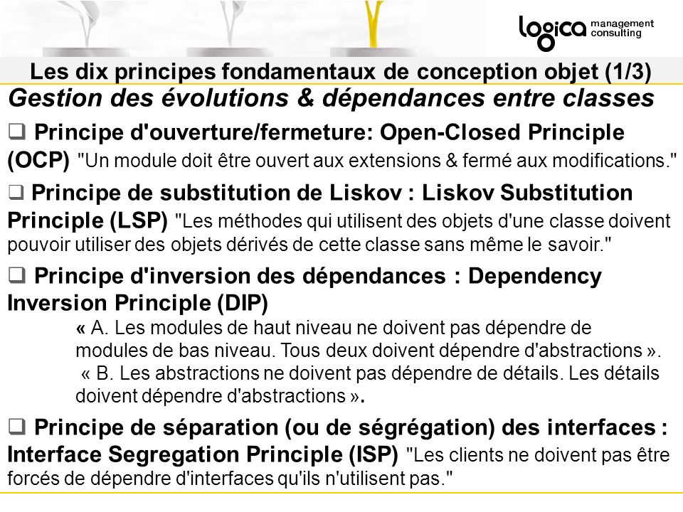 Les dix principes fondamentaux de conception objet (1/3)