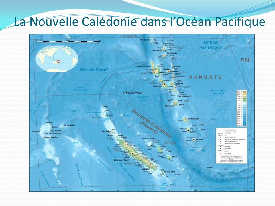 La Nouvelle Calédonie dans l'Océan Pacifique