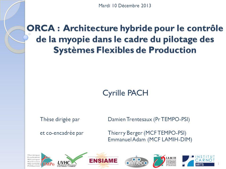 Mardi 10 Décembre 2013 ORCA : Architecture hybride pour le contrôle de la myopie dans le cadre du pilotage des Systèmes Flexibles de Production.