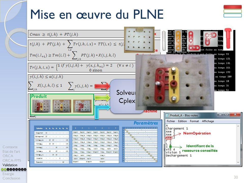 Mise en œuvre du PLNE Solveur Cplex Produit Paramètres Calcul Cmax