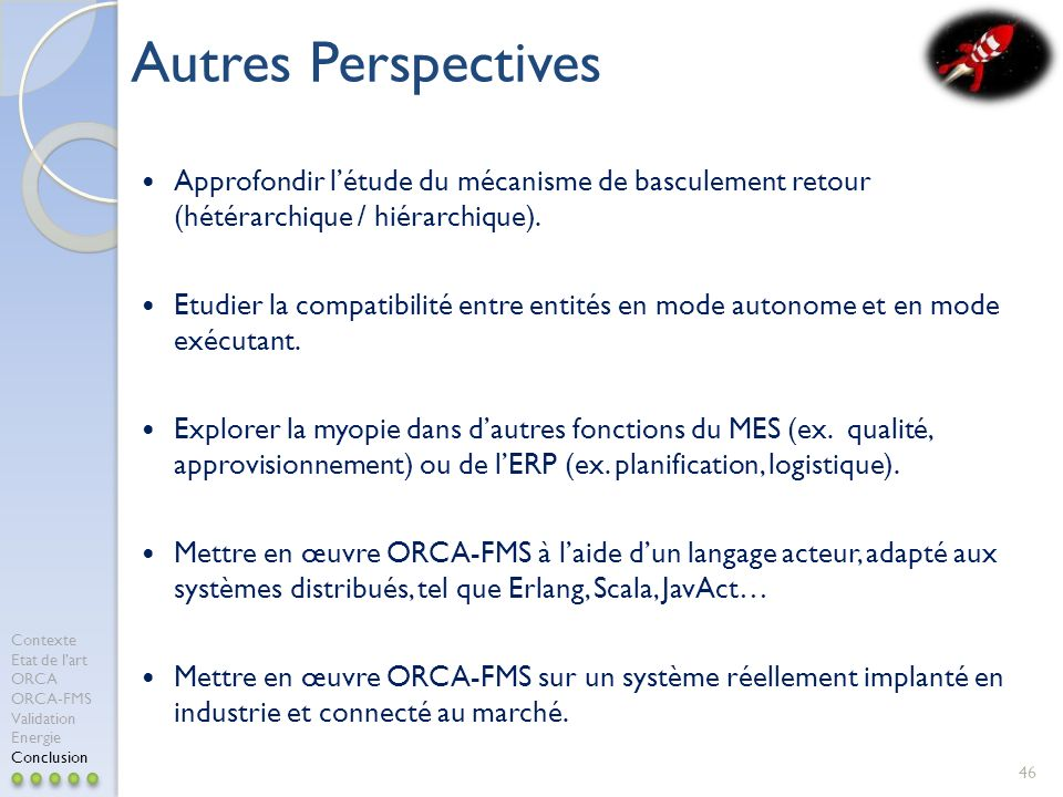 Autres Perspectives Approfondir l'étude du mécanisme de basculement retour (hétérarchique / hiérarchique).