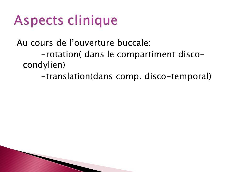 Aspects clinique Au cours de l'ouverture buccale: -rotation( dans le compartiment disco- condylien) -translation(dans comp.