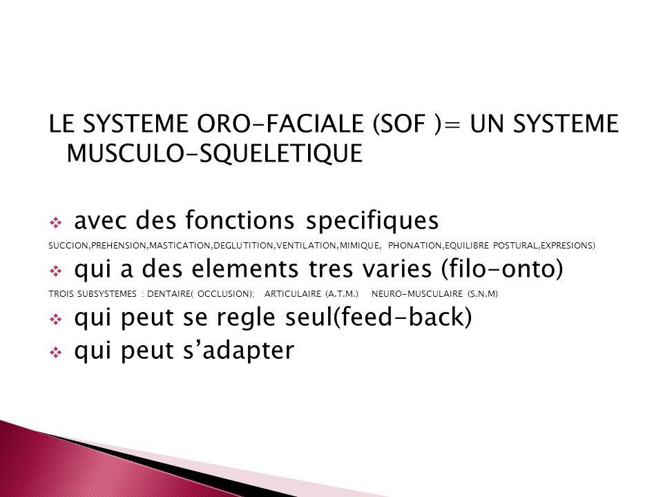 LE SYSTEME ORO-FACIALE (SOF )= UN SYSTEME MUSCULO-SQUELETIQUE