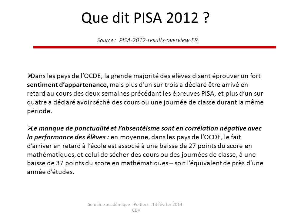 Que dit PISA 2012 Source : PISA-2012-results-overview-FR
