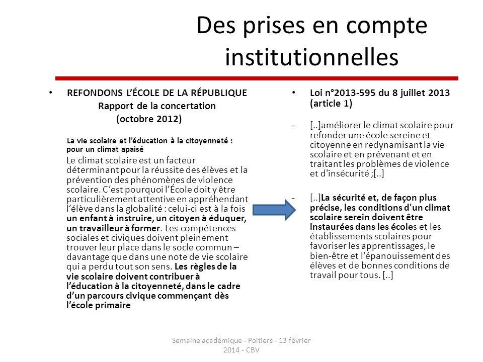 Des prises en compte institutionnelles