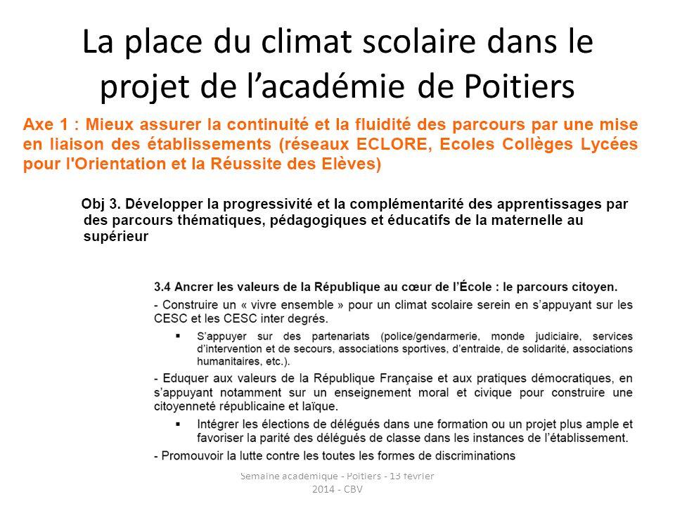 La place du climat scolaire dans le projet de l'académie de Poitiers