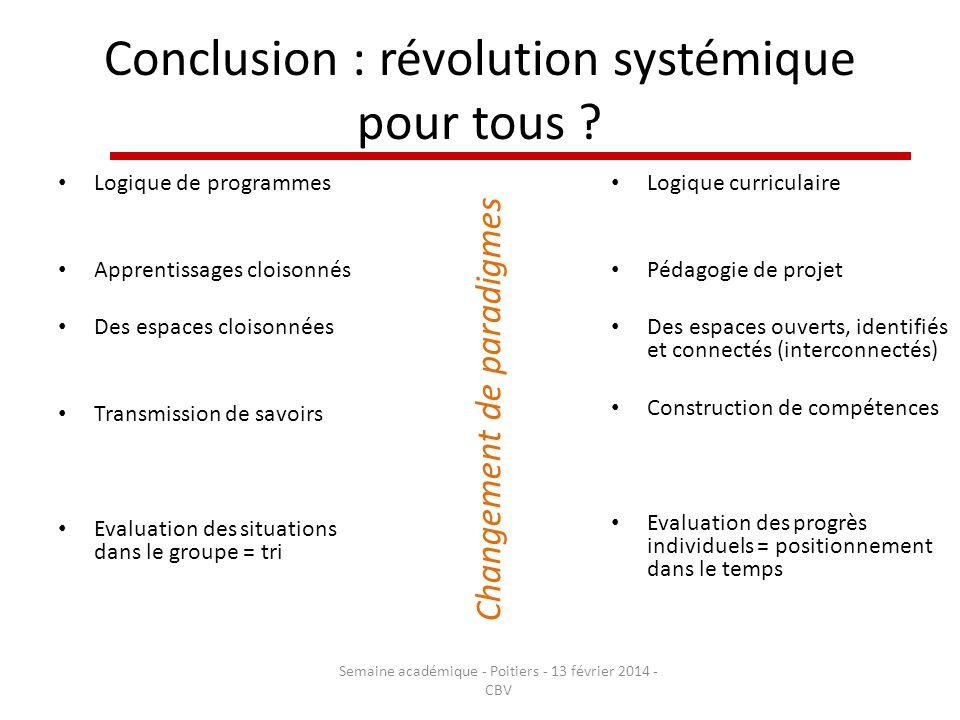 Conclusion : révolution systémique pour tous